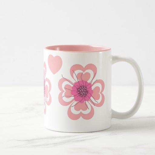 Mug Flowers Pink Hearts Valentine's Day ZIZZAGO Coffee Mug