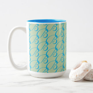 Mug for coffee, tea, B initial, mint, turquoise