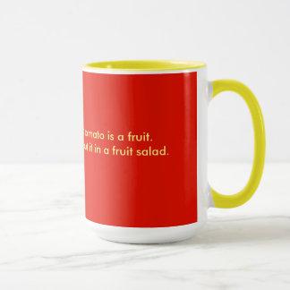 Mug for coffee, tea, red, yellow, wisdom