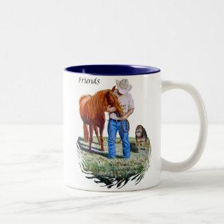Mug, Friends, Man with his horse and dog Two-Tone Coffee Mug