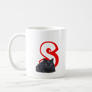 Mug - Letter S with Black Cat and Name