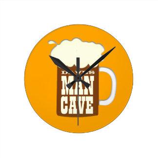Mug Of Beer Man Cave Round Clock