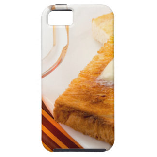 Mug of tea and hot toast with butter iPhone 5 covers