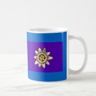 Mug, PASSION_FLOWER, purple background on blue Coffee Mug