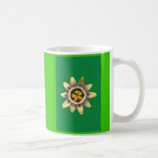 Mug, PASSION_FLOWERFLOWER. Green background Coffee Mug