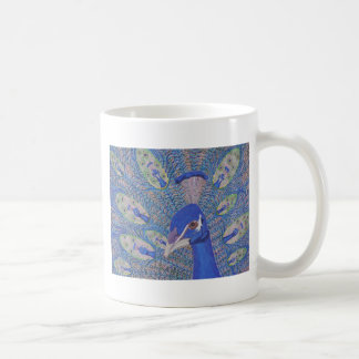 mug, peacock, painting, animal, pretty, unique coffee mug