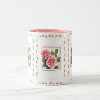 Mug-Pink Roses Two-Tone Coffee Mug