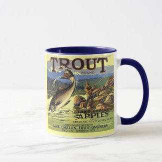 MUG ~ TROUT BRAND VINTAGE APPLE CRATE LABEL