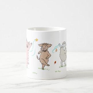 Mug vegan, pig, cow and sheep which dance