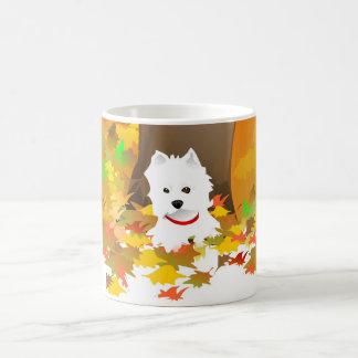 Mug - Westie Dog in Autumn Leaves