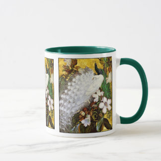 Mug:  White and Blue Peacocks Mug