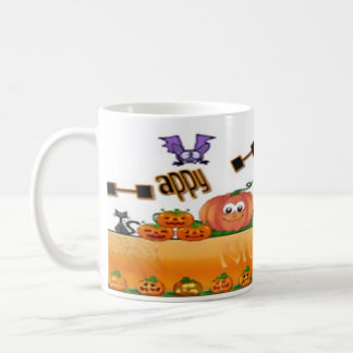 mug, white, full wrap, Halloween image Coffee Mug