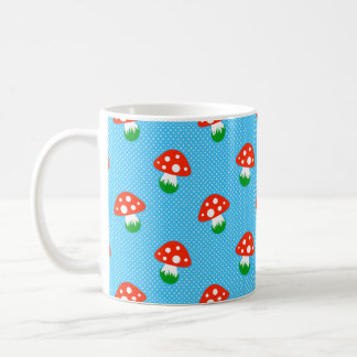 Mug with a bright toadstool and polka dot pattern