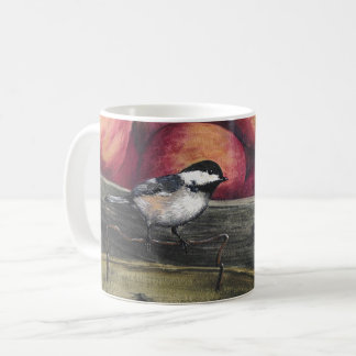 Mug with a Chickadee on a Basket of Apples