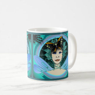 Mug With A Stylish Fairy Who Wears A Butterfly Hat