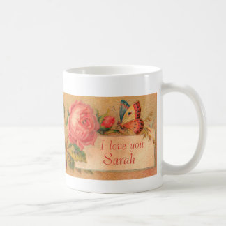 "Mug with a Vintage Victorian Rose, ""I Love You"""