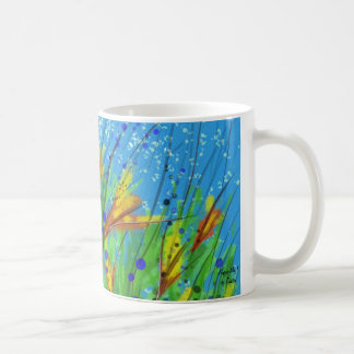 Mug with abstract design with surreal flowers!