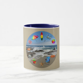 Mug with beach, ocean surrounded by beach items