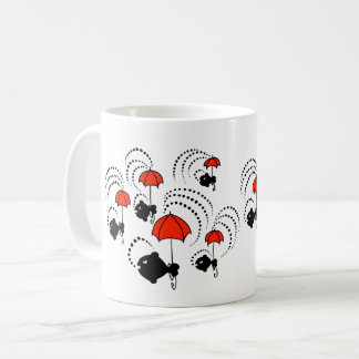 Mug with black little fishes and red umbrellas