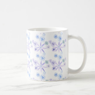 Mug with blue and purple watercolor flowers