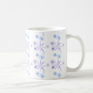 Mug with blue and purple watercolour flowers