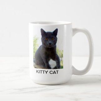 Mug with cat photo and words KITTY CAT on it.