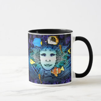 Mug with Fairy and Fishes Graphic Art Decor