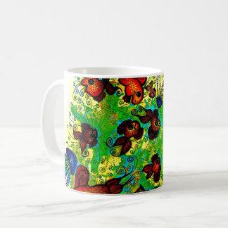 Mug with handpainted surreal marine life