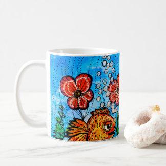 Mug with handpainted surreal orange fishes