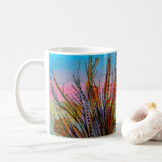 Mug with handpainted surreal plants