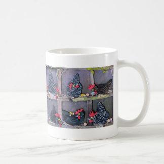 mug with humorous image of nesting chickens