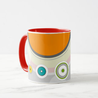 Mug with lines and colored circles