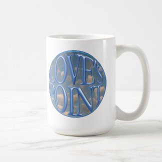 Mug with Love's Point Logo over clouds
