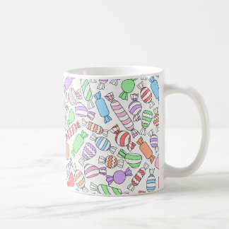 Mug with pastel candies pattern