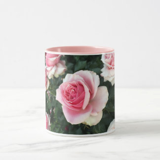 Mug with soft pink roses on a bush