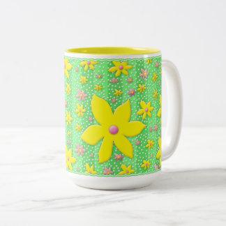 Mug - Yellow and Pink Flowers on Green - Dainty