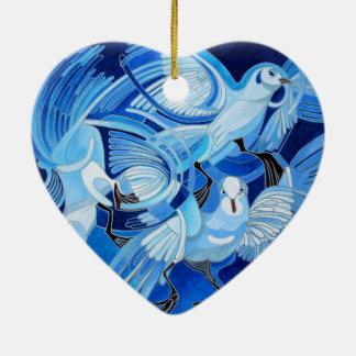 Muge's Pigeons in Blue Ceramic Ornament