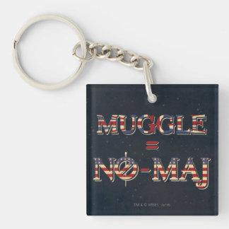 Muggle = No-Maj Double-Sided Square Acrylic Keychain