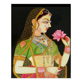 mughal art,indian girl poster