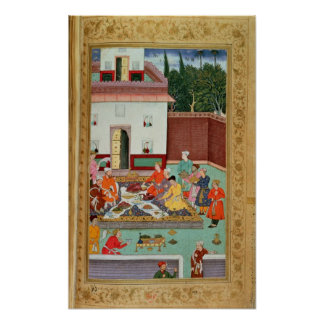 Mughal Emperor Feasting in a Courtyard Poster