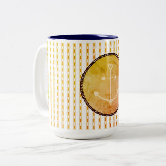 Mugs_Anchor_Peach_Checks_ Two-Tone Coffee Mug