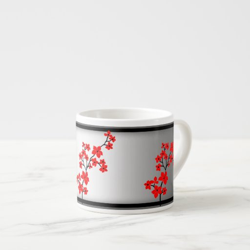 Mugs Red White Asian Blossom Flowers Black cup Espresso Cups