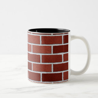 Mugs with red bricks texture