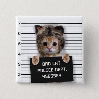 mugshot cat - crazy cat - kitty - feline 2 inch square button