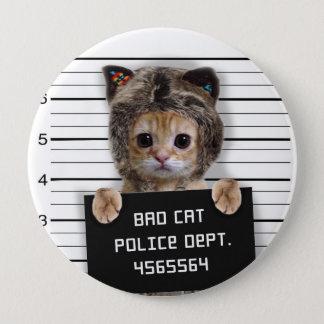 mugshot cat - crazy cat - kitty - feline 4 inch round button
