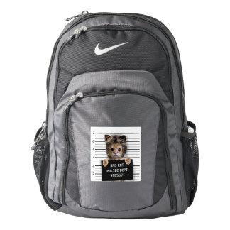 mugshot cat - crazy cat - kitty - feline backpack