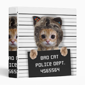 mugshot cat - crazy cat - kitty - feline binder