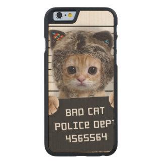 mugshot cat - crazy cat - kitty - feline carved maple iPhone 6 case