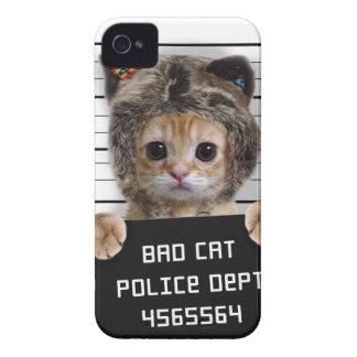 mugshot cat - crazy cat - kitty - feline Case-Mate iPhone 4 case