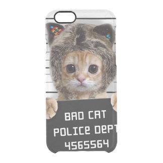 mugshot cat - crazy cat - kitty - feline clear iPhone 6/6S case